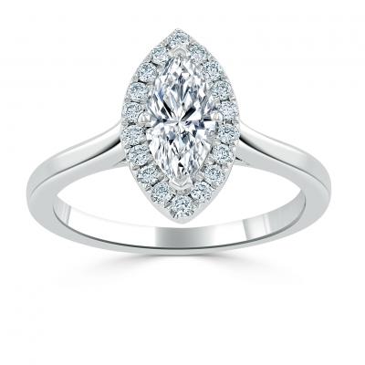 marquise halo diamond platinum band
