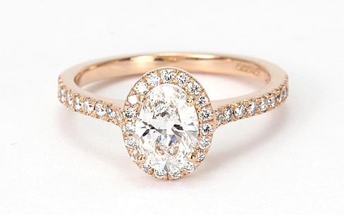 Halo rose engagement ring