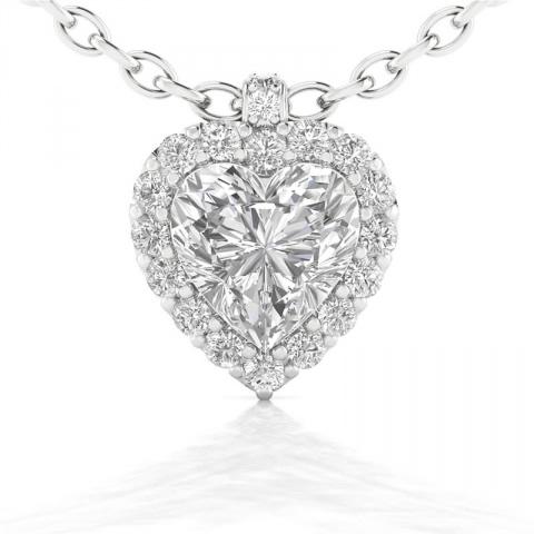 Heart shaped halo diamond pendant