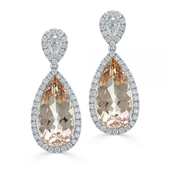 18ct White Gold Point to Point Pear Shape Diamond and Morganite Halo Drop Earrings
