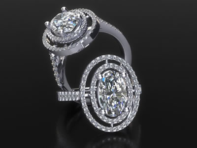 Oval diamond engagement ring computer rendered image