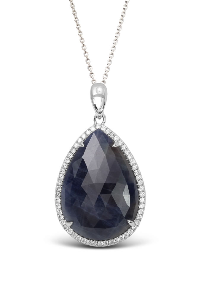 Pear blue diamond pendant
