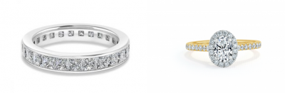 A comparison of a platinum engagement ring and gold engagement ring