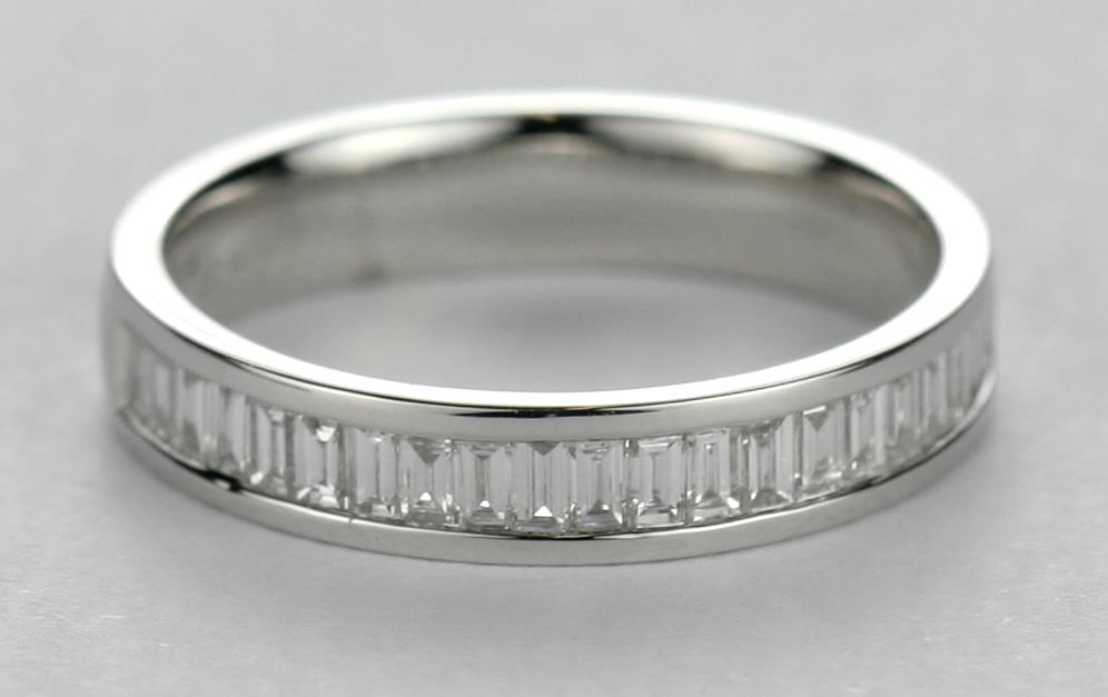 Platinum baguette cut diamond wedding ring