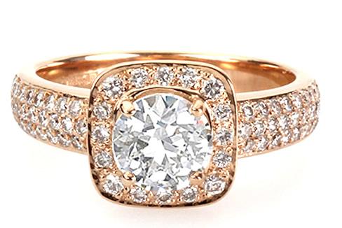 Rose gold vintage diamond engagement ring