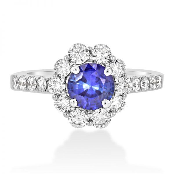 18ct White Gold Vintage Diamond and Sapphire Ring