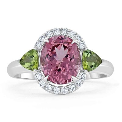 A spinel ring set with diamonds.