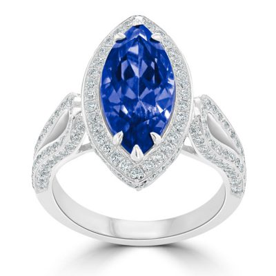 Marquise cut tanzanite with a diamond halo surround.