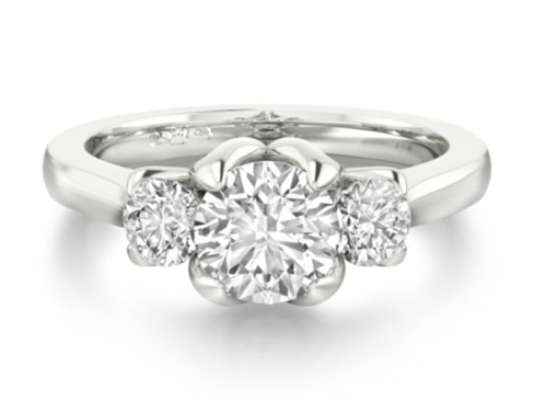 Three stone diamond engagement ring setting