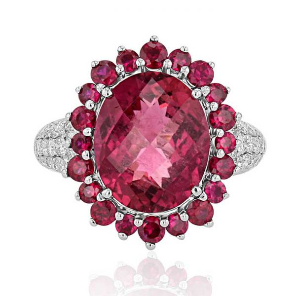 Victoriana Oval Rubellite and diamond ring