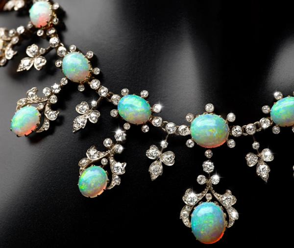 australian opal antique necklace