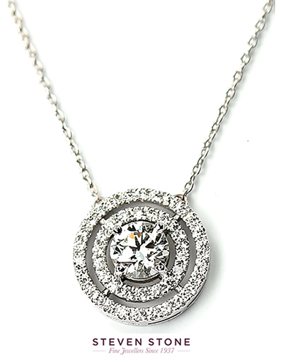 bespoke diamond pendant set with round brilliant cut diamonds