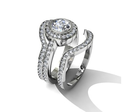 bespoke interlocking engagement and wedding ring
