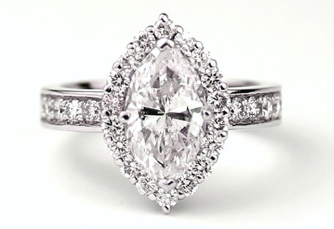 vintage style marquise cut diamond engagement ring