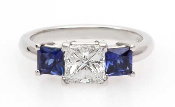 blue square sapphire and diamond ring