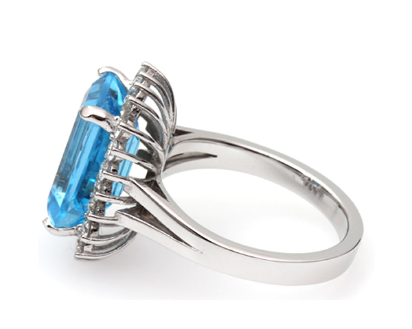 custom made diamond and blue topaz ring
