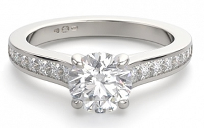 channel set shoulders diamond engagement ring