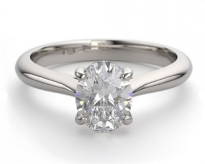 classic solitaire oval cut diamond engagement ring