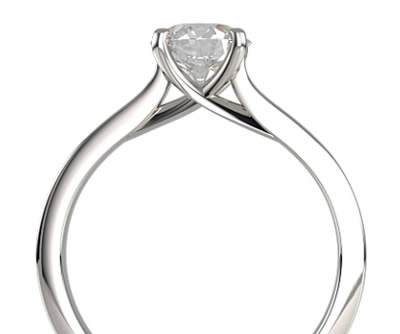 cross over claw set diamond engagement ring