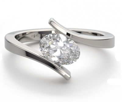 cross over style oval shape engagement ring