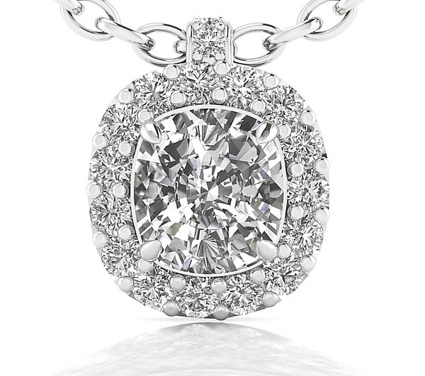 cushion cut diamond halo pendant