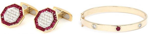 anniversary gifts for parents - ruby cuff links and bangle bracelet