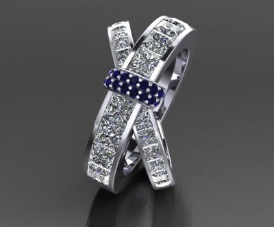 diamond and sapphire bespoke ring