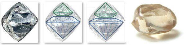 Diamond cut natural shapes
