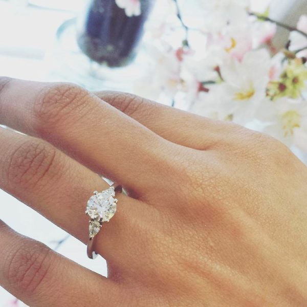 3 stone diamond engagement ring that suits her