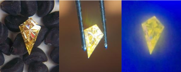 diamond fluorescence in fancy coloured diamonds