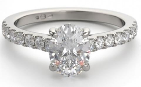 diamond set shoulder cushion shaped diamond engagement ring