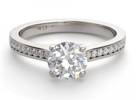 diamond set shoulder engagement ring setting