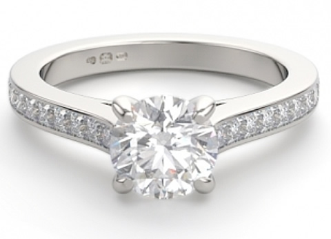 diamond set shoulder engagement ring