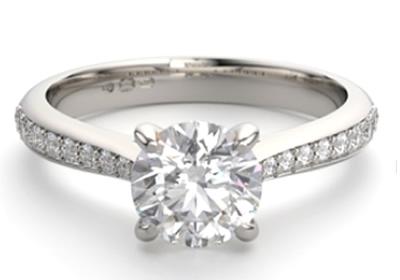 diamond shoulder set engagement ring