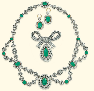 emerald and diamond necklace with matching diamond earrings