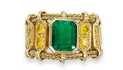 emerald and fancy yello diamond ring