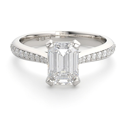 emerald cut diamond engagement ring with diamond set shoulders