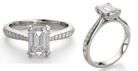 emerald cut diamond engagement ring with tapered diamond set shoulders
