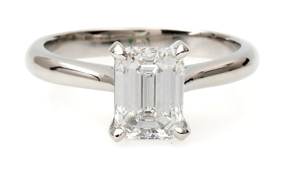 emerald diamond single stone engagement ring