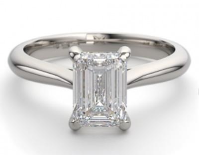 Classic solitaire emerald cut diamond engagement ring