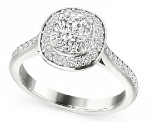 halo cushion cut diamond engagement ring