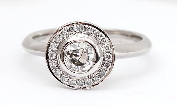 halo diamond engagement ring 18ct white gold