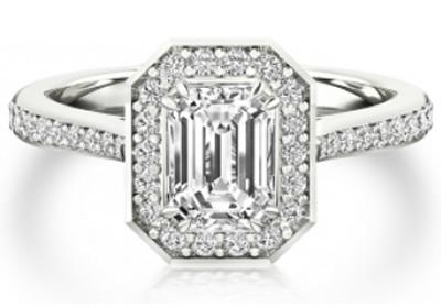 halo emerald cut diamond engagement ring