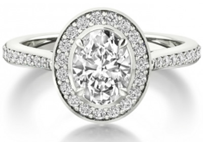 halo oval shaped diamond engagement ring