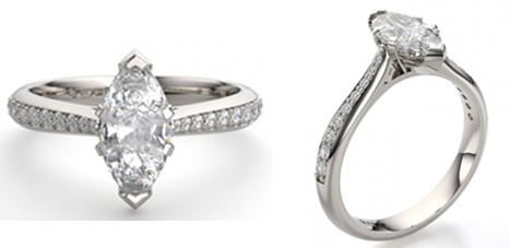 marquise shaped engagement ring with tapered diamond set shoulders