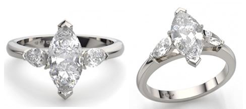 marquise three stone engagement ring