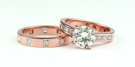 matching weddins and engagement ring set