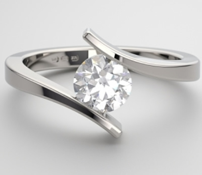modern 18 carat white gold engagement ring