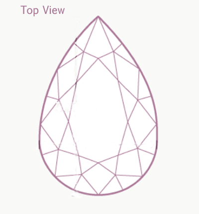 pear shaped diamond engagement ring top view diagram
