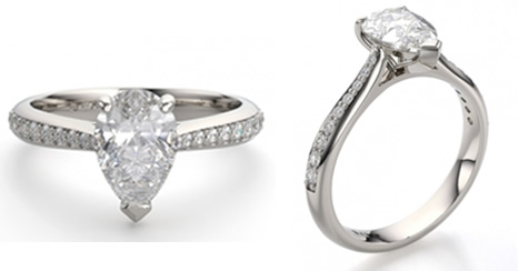 pear shaped diamond engagement ring with tapered diamond set shoulders